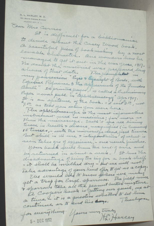 1ALS, Letter Regarding Ophthalmoscope. H. L. Harley.