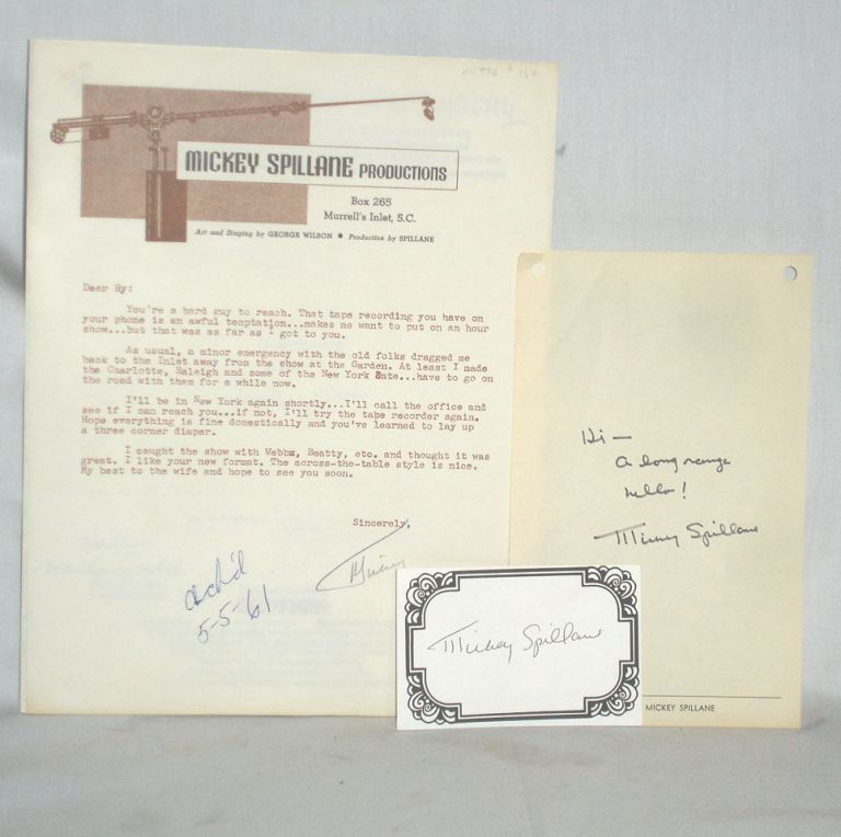 Autograph Note Signed and One Typed Letter Signed. Mickey Spillane, ANS.