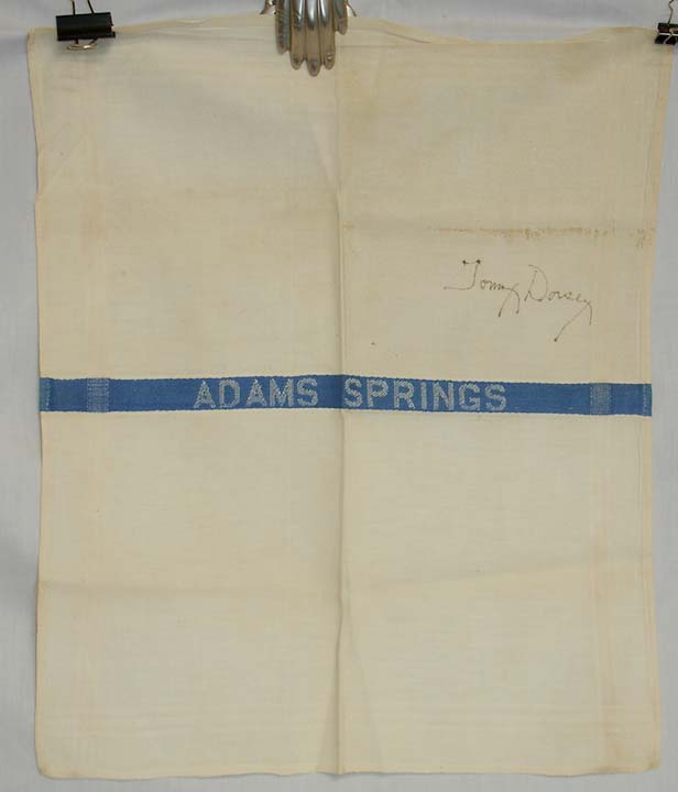 Tommy Dorsey, Signed Napkin Adam Springs Hotel Undated