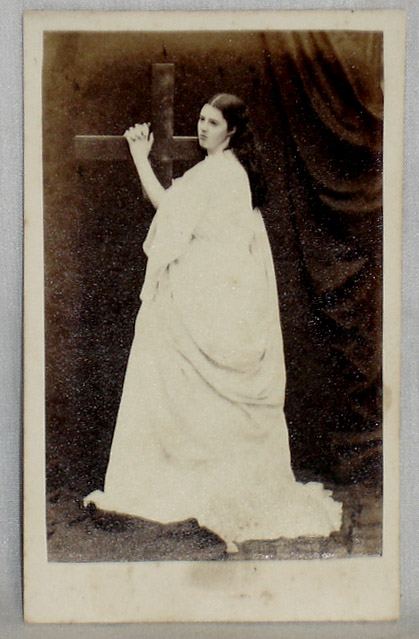 Rousby, Clara Marion Jessie (1852?-1879), actress, CDV of her in Role as Joan of Arc