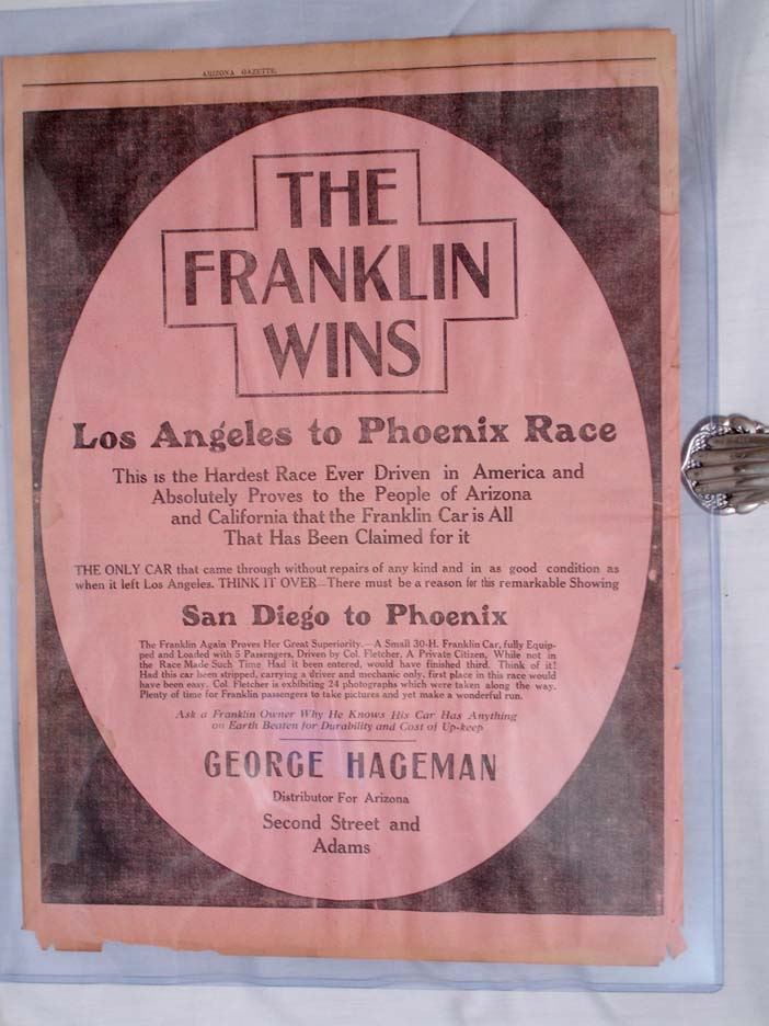 Full Page Automobile Ad: THE FRANKLIN WINS, Los Angeles to Phoenix Race, 1912