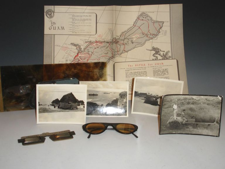 (map) The B-29's on Guam with Vectograph Glasses, Map, and a Photograph of Harbor and Four of Guam Natives