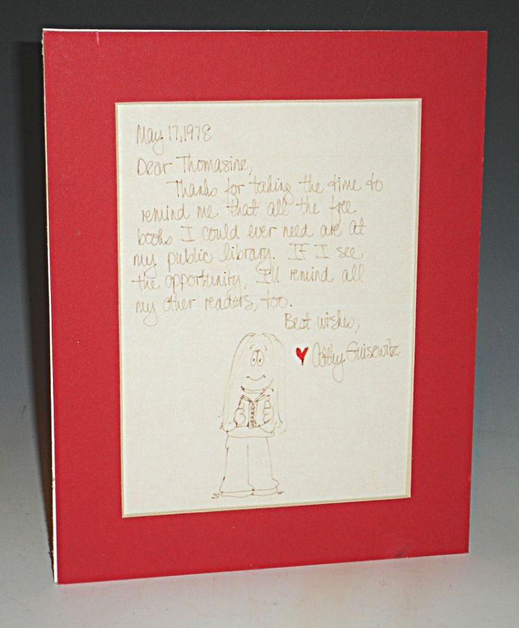 1 Autographed Letter Signed with Caricature of Her. Cathy Guisewite.