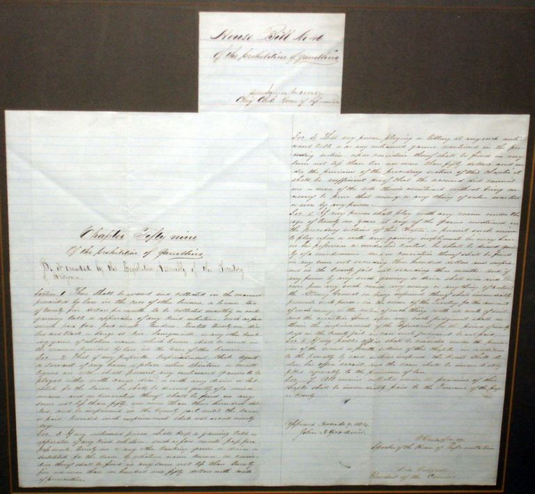 Arizona. Original Document Regulating Gambling in the Counties. Signed By Governor John Goodwin and Two Other Major Leaders, November 9, 1864.