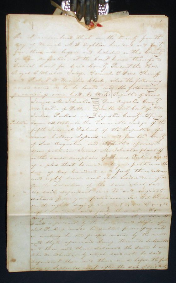 Republic Of Texas Page Legal Document March Presided - Texas legal documents