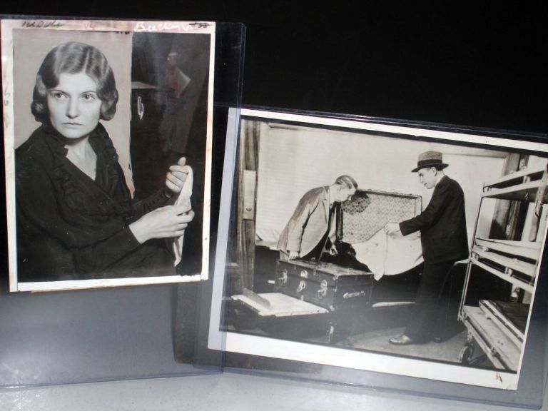 Photograph of Winnie Ruth Judd at Her Trial; with Photograph of Detectives Examing remains in Trunks