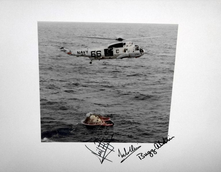 NASA Official 1969 Photograph of the Rescue from the Module of the Astronauts, Signed By the Entire Crew of Apollo 11