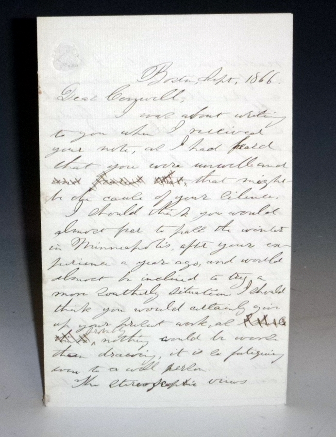 4 Page Autographed Letter Signed, Boston, 1866. Edward Charles Pickering.