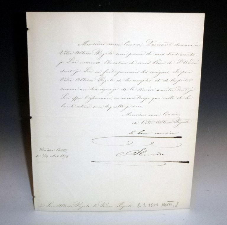 Document Signed: Czar Alexander II of Russia to Prince Leopold of Albany, Dated Windsor Castle, May 1874. Czar of Russia Alexander II.