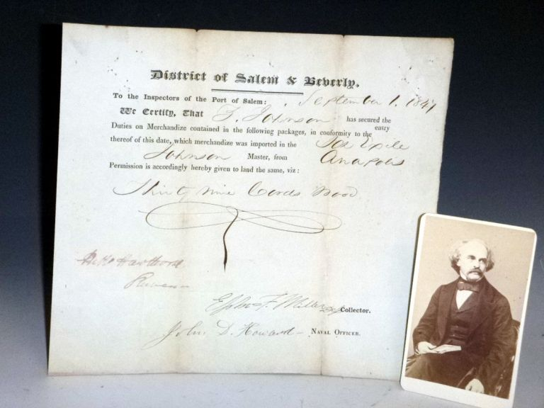 Document Signed, 1 September 1847. Customs Declaration for Ship Arriving from Annapolis. Nathaniel Hawthorne.
