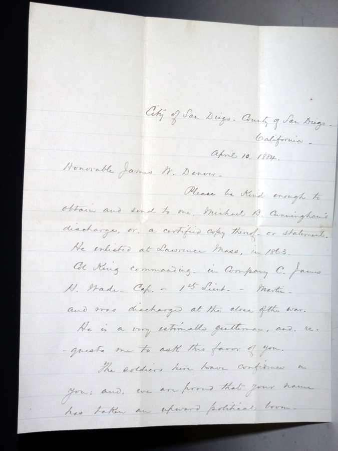 2 Page Autographed Letter Signed to the Honorable James W. Denver, April 10, 1884. William Jefferson Gatewood.