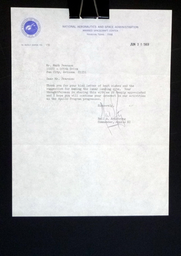 One Page Typed Letter from Neal A. Armstrong to Mr. Mark Pearson, June 30, 1969. Neil A. Armstrong.