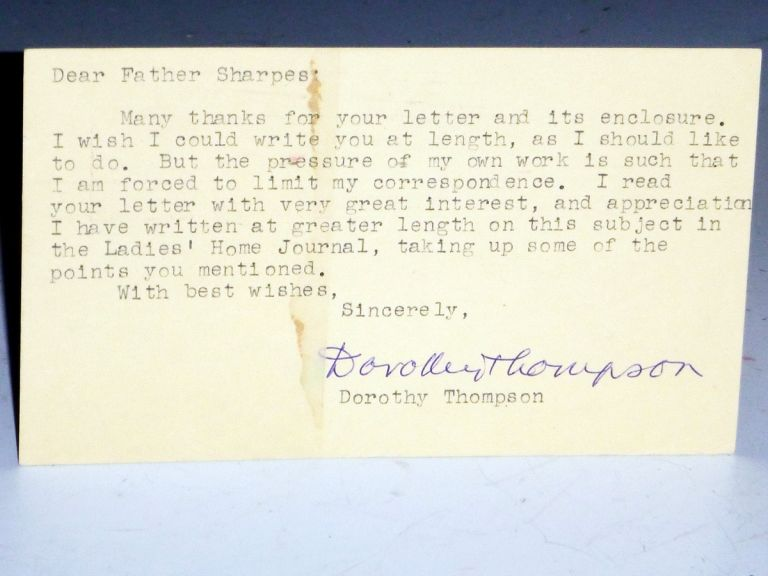 Postcard Reply to Father Donald K. Sharpes, March 24, 1958. Dorothy Thompson.