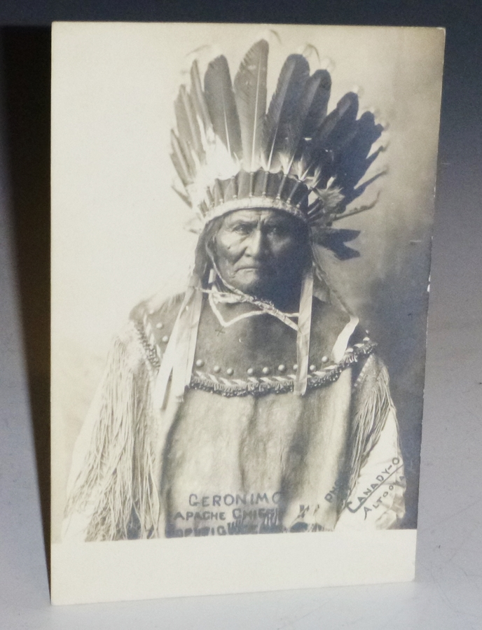 Geronimo, Apache Chief (Photo Postcard with Important Description on verso). A. B. Canady, 1880-, Photographer, Aaron Burrie.