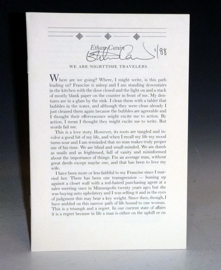 We Are Nighttime Travelers (signed, 1/88 copies). Ethan Canin.