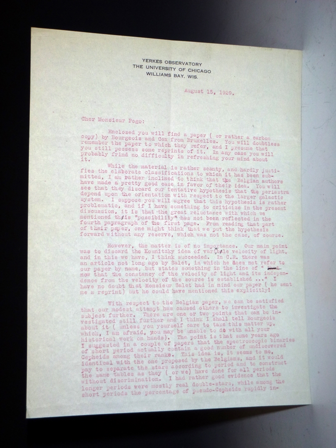 Letter to Alexander Pogo (April 15, 1929) 2 Page, Typed Letter on Yerkes Observatory Letterhead, Signed By