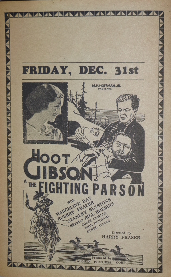 Theatre Advertising Handout: Hoot Gibson: The Fighting Parson (1933)