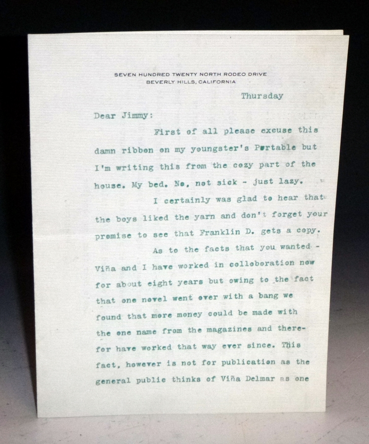 2p. Typed Letter Signed to Jimmy Robinson, Editor, Sports Afield, Ca. 1936. Eugene Delmar.