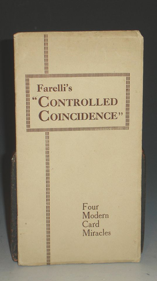 """""""Controlled Coincidence"""" : A New and Subtle system for Card Workers: With Four Detailed Effects. Victor Farelli."""