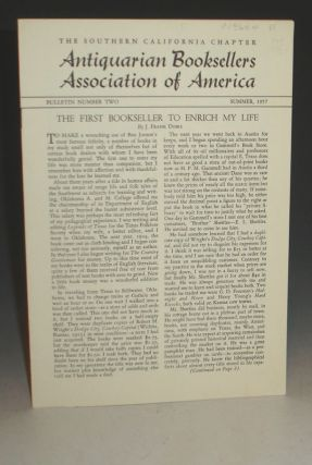 Antiquarian Booksellers Association of America, The Southern California Chapter, No. 2 (1957). J. Frank Dobie.