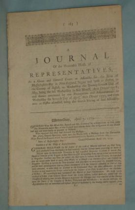 A Journal of the Honorable House of Representatives of the State of Massachusetts-Bay....