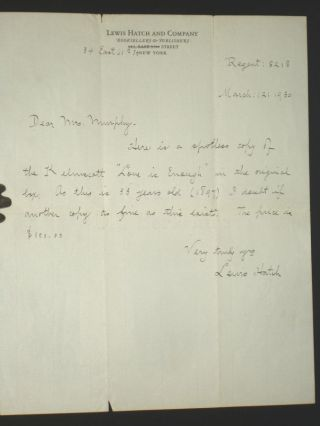 "1 als on Bookseller's Letterhead; Regarding ""Love is Enough"" Lewis Hatch"