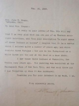 Typed Letter Signed, 1TLS, Dated Feb. 26, 1929. Frank Tenney Johnson