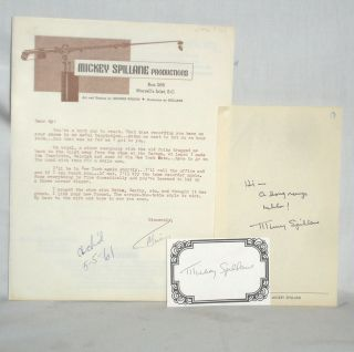 Autograph Note Signed and One Typed Letter Signed. Mickey Spillane, ANS