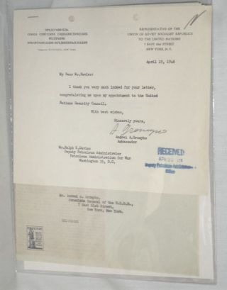 1Typed Letter Signed on His Appointment to the U.N. Security Council, April 19, 1946. Andrei A....