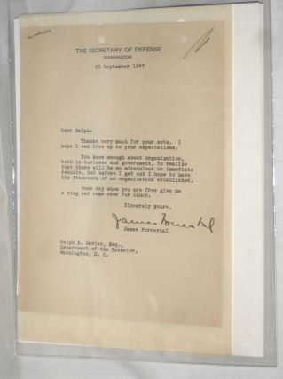 1 Typed Letter Signed to Ralph K. Davies,, September 25, 1947. James Forrestal, 1892-May 22...