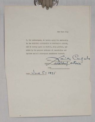 Signed Contract By Xavier Cugat for the Waldorf Astoria June 5, 1935. Xavier Cugat.