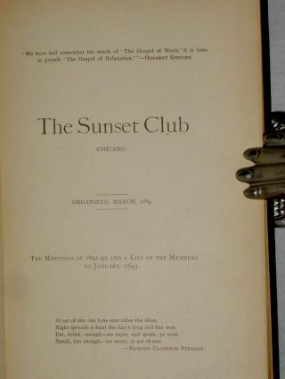 The Sunset Club, Chicago; the Meetings of 1891-1892 and a List of the Members to January, 1893