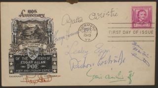 First Day Cover Honoring Edgar Allan Poe; Signed By Agatha Christie, Rex Stout, Leslie Charteris...