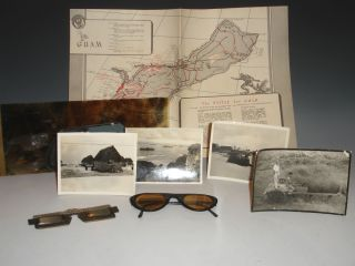 map) The B-29's on Guam with Vectograph Glasses, Map, and a Photograph of Harbor and Four of...