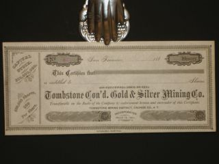 Arizona) Tombstone Con'd. Gold & Silver Mining Company, Capital Stock Certificate