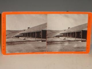 Arizona Territory, Fort Whipple) Stereographic Card, Company Quarters, Circa 1877 and 1885...