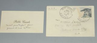Business Card with Original Mailing Envelope, Signed, January 15, 1955. Pablo Casals