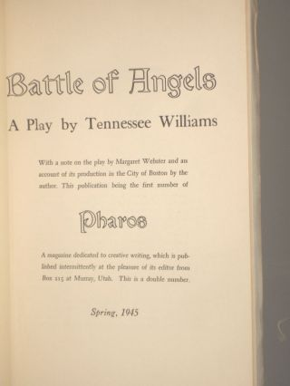 Battle of Angels [Author's First book]