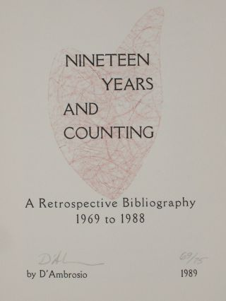 Nineteen Years and Counting, a Retrospective Bibliography 1969 to 1998. D'Ambrosio