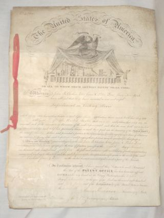 DS: U.S. Patent Signed by James Buchanan (as Secretary of State) and Edmund Burke (as Commissioner of Patents). James Buchanan, Edmund Burke.