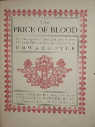 The Price of Blood; an Extravaganza of New York Life in 1807