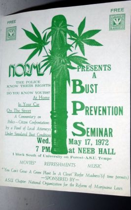 NORMAL Presents a Bust Prevention Seminar, Wed. May 17, 1972. Broadside