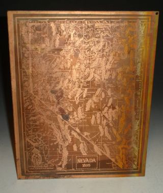 "Copper Etched Map, Nevada 1895 (12"" x 9 3/8"")"