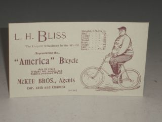 "Bicycle Promotional Card: For the 'America"" Bicycle"