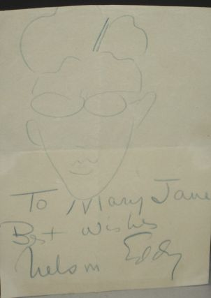 Inscribed Nelson Eddy Note with His Caricature of Himself. Nelson Eddy.
