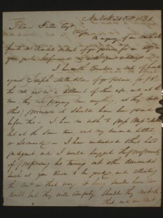 Thomas T. Kissam to Thomas Fuller, Two Page Autographed Letter Signed, Bethany, Pennsylvania, [with Reference to Randall Wilmot], October 31, 1831
