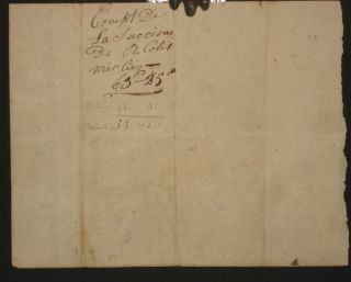 (Louisiana Territory, St. Genevieve, January 3, 1802, Funeral Bills Manuscript Page for Colet Merlies
