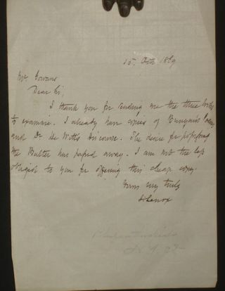 Bookselling) Autographed Letter Signed to Mr. William Gowans, October 15, 1869