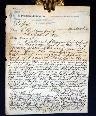 El Prodigio Mining Co., March 23, 1904 Autographed Document Signed with Carbon Copy [Spanish...