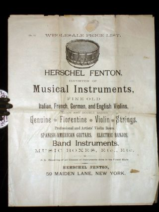 Herschel Fenton, Importer of Musical Instruments, Fine Old Italian, French, German and English...